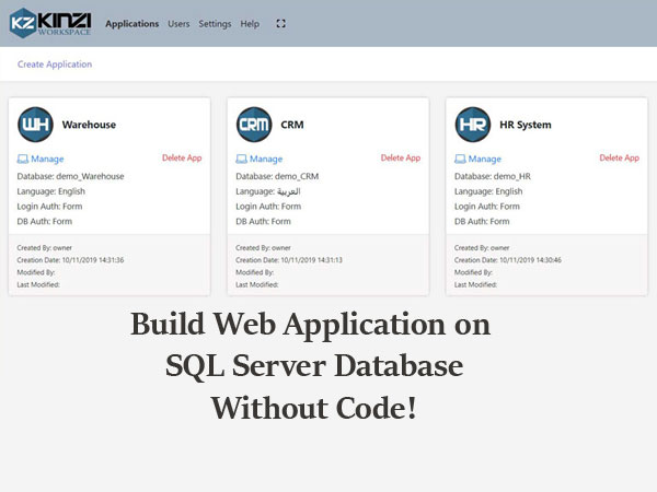 How to build Web Application on SQL Server Database, without coding!
